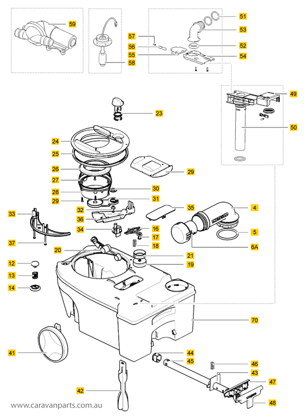 Thetford C250 / C260 Waste Holding Tank Spare Parts Diagram