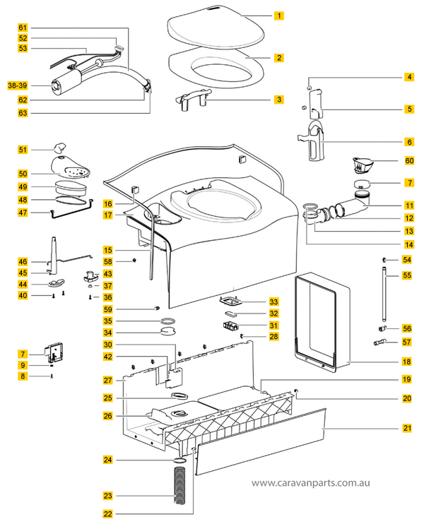 Thetford C402C / X Cassette Toilet Spare Parts Diagram