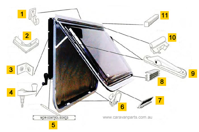 Spare Parts Diagram: Camec Odyssey Wind Out Window (WOW)
