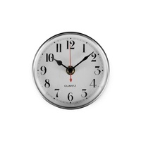 Wall Clock - 100mm diameter (Silver & White)